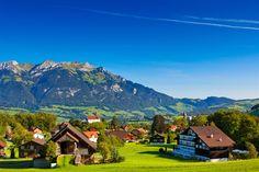 #Alpes, #, #SUIZA, #verdor, #colinas, #casas, #montañas, #verano, #paisaje, #naturaleza, #árboles