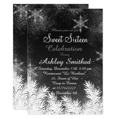 Black white Snowflake Winter Sweet 16 Card - invitations personalize custom special event invitation idea style party card cards
