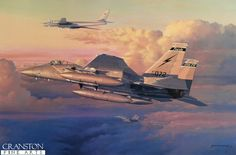 Eagle Intercept by Philip West.  A pair of F-15 Eagles of 125th Fighter Wing based at Jacksonville IAP, Florida, intercept a Russian Tupolev Tu-95 Bear en route non-stop from Moscow to Havana, Cuba, at the height of the Cold War. Constantly on alert, the Eagles form part of the First Air Force, tasked with the air defense of continental United States.