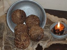 5 Primitive Grubby & Drab Twine Balls Bowl Fillers 100%Cotton Bowl Fillers