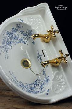 B C Sanitan Blue Floral Bathroom Suite