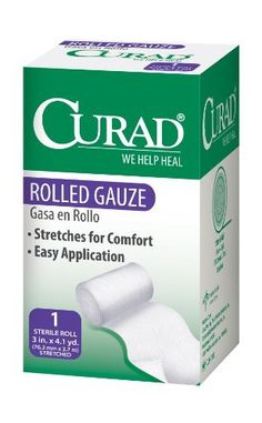 Curad Rolled Gauze, 3 Inches X 4.1 Yards (Pack of 4) by Curad. $9.12. Curad brand products offer protection for the entire family. From our unique and colorful character bandages to hospital quality gauze items, Curad is there every step of the way covering all of your family's first-aid needs.
