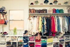 Love a well organized closet! Love the storage space underneath the racks. a possible idea for when we rip out our old wardrobe (Diy Closet Storage) Master Closet, Closet Bedroom, Closet Space, Bedroom Girls, Master Bedroom, Bedrooms, Bedroom Decor, Organizar Closets, How To Organize Your Closet