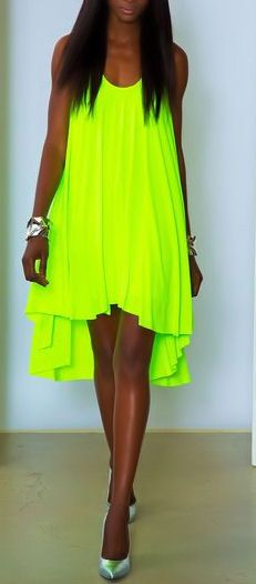 Neon Lime Tunic Dress by Marc Bouwer ♥.  Wow. If I had that in orange, I'd look like a safety cone.
