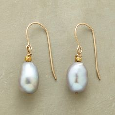 """DUSKY PEARL EARRINGS--A pair of gray pearl dangle earrings, wherein luminous gray pearls sway gently beneath 14kt gold-plated nuggets on slender, shapely 14kt gold-filled wires. USA. 1-1/8""""L."""