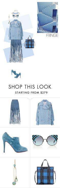 """""""shades of blue"""" by ladyarchitect ❤ liked on Polyvore featuring Ksenia Schnaider, MISBHV, Christian Louboutin, Fendi, Julie Wolfe, Balenciaga, Melissa Odabash, Blue, fringe and ladyarchitect"""