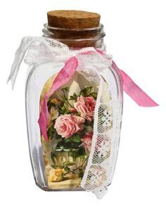 Victorian Roses Vintage Decorative Glass Bottle | Shabby Chic Decor