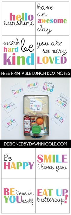 FREE Printable Lunchbox Notes ~ Designed by Dawn Nicole