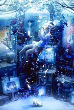 Character: Ene Anime: Mekakucity Actors 溺れる by Domik (id Loli Kawaii, Kawaii Anime, Ene Anime, Anime Fantasy, Fantasy Art, Manga Art, Manga Anime, Desu Desu, Underwater Art
