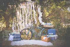 Vintage Picnic Mini Session - Spring Photos - Styled Engagement Shoot By Rickety Swank Vintage Rentals -  Save the Date - Wedding Styling - Rustic Vintage - Picnic - Old Bike - Country Style - Ranch Photos - Wedding Rentals - Vintage Suit Cases -  Rustic Chic - Photo Props by www.ricketyswank.com Image byhttp://www.kenzieannphotography.com/
