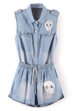 ROMWE | Skull Two-piece Buttoned Jumpsuit, The Latest Street Fashion