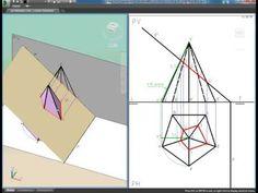 Sección y verdadera magnitud de un plano de canto sobre una pirámide hexagonal.