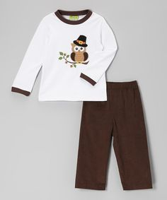 Take a look at this White Pilgrim Owl Tee & Brown Corduroy Pants - Toddler & Girls on zulily today!