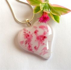 Fused Glass Pendant Necklace Pink Confetti by GreenhouseGlassworks, $20.00