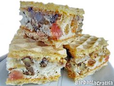 Prajitura cu foi de napolitana Rumba Romanian Desserts, Romanian Food, Sweet Recipes, Cake Recipes, Great Desserts, Eat Dessert First, Food Cakes, Homemade Cakes, Cakes And More
