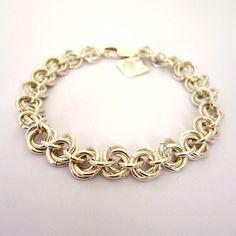Sterling Silver Bracelet Mobius Ball Weave by CrystalClarkeJewelry #etsy #chainmaille #silverbracelet #handmadejewellery