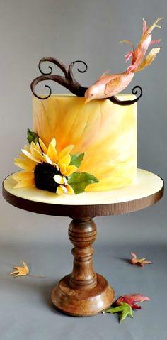 Beautiful Sunflower & Autumn Bird Cake Art.