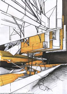 Drawings by Stefan Davidovici, Architect in Milan.