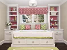 Pink Parisian Style Girl's Bedroom With Red And Green Accents