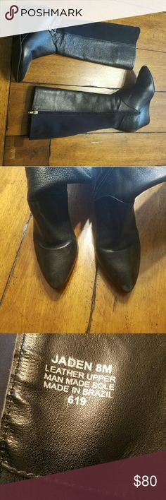 "Steve Madden Boots FAB gently worn Black Leather Steve Madden Wedged Boots. About 2"" wedge. Gold zippers & buckles. Very comfy. Price was $180 when I purchased. Teeny scuff on right toe. (Pic 2)   Entire closet bogo 50% off or use the offer button! :) Steve Madden Shoes Heeled Boots"