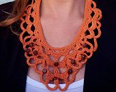 Orange crochet necklace, fiber art collar, orange lace necklace, neck jewelry, textile necklace, beaded necklace, orange crochet jewelry