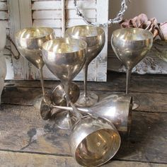 Silverplate goblets collection of six French by AnitaSperoDesign