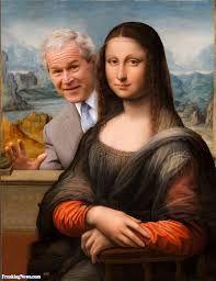 George Bush Hiding Behind the Mona Lisa Monet, Monnalisa Kids, Lisa Gherardini, Mona Friends, La Madone, Mona Lisa Parody, Mona Lisa Smile, Hokusai, Renaissance Artists
