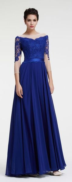 Lace Cap Sleeve Evening Gown in 2018 | Gowns | Pinterest | Long prom ...