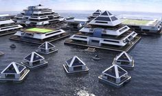 These floating pyramids on the sea are a part of the conceptual design by Pierpaolo Lazzarini. Lazzarini has imagined a floating city with all the components a normal city has: houses, hotels, and even a greenhouse to grow crops. Architecture Maya, Floating Architecture, Cabinet D Architecture, Concept Architecture, Futuristic Architecture, Floating Hotel, Floating Cities, Slanted Walls, Japan Design