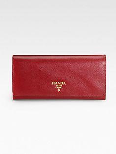 Prada - Saffiano Metal Oro Continental Wallet - Saks.com $455