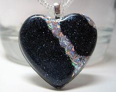 Handmade Black Glitter and Holographic Silver Glitter Stripe Resin Heart…
