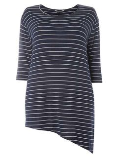 **DP Curve Navy and Ivory Stripe 3/4 sleeve Top - View all Plus Size Clothing - Shop By Fit - Dorothy Perkins