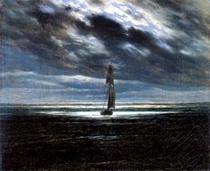 Learn more about Seascape in the Moonlight (ca. Caspar David Friedrich - oil artwork, painted by one of the most celebrated masters in the history of art. C D Friedrich, Caspar David Friedrich Paintings, Casper David, Lord Jim, Oeuvre D'art, Art Reproductions, Les Oeuvres, Moonlight, Renaissance