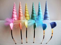 Unicorn Headbands, Unicorn Birthday Party Ideas- Unicorn party favors-- Rainbow Unicorn Party --  Six Unicorn Headbands - Rainbow Unicorn Headbands - Pastel Rainbow Unicorn Head
