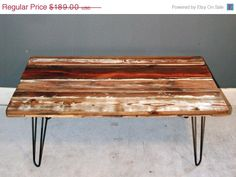 Reclaimed Wood Coffee Table. Wood Table. Wooden Table. Painted Wooden Table, $141.75