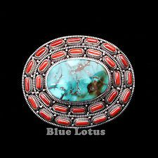 925 Sterling Silve Genuine Red Coral Turquoise Handmade Belt Buckle