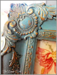 chalk painted and crackled gold frame, so gorgeous