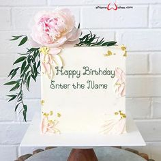 Square Shaped Birthday Cake Design with Name - eNameWishes