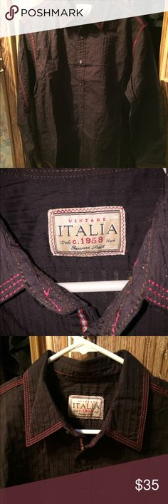 DEAL ON VINTAGE ITALIA MENS DRESS SHIRT NWOT NWOT MENS VINTAGE ITALIA BUTTON DOWN DRESS  SHIRT BLACK AND RED NEVER BEEN WORN RN: 136361  SIZE: LARGE  59% COTTON 30% NYLON 6% POLYESTER 5% SPANDEX WITH BOTH SIZE EXTRA BUTTONS FOR REPAIR STILL WITH TAG  NEVER BEEN WORN BUT DON'T HAVE TAGS OFFERS WELCOME VINTAGE ITALIA Shirts Casual Button Down Shirts