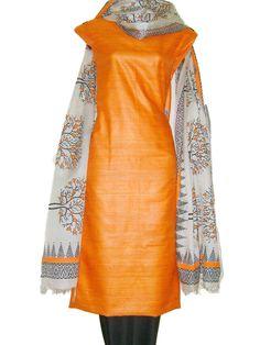 Tussar Silk Fabric with Dupatta, Tussar silk Suits online, Tussar SIlk salwar suits