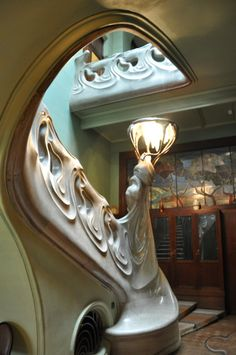 This Art Nouveau Marble Staircase. Inside Maxim Gorky's home in Moscow, one of the Soviet era's most important authors. He was rewarded with this stunning house, which has been preserved as a museum.