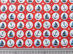 Stoffe gemustert - BW Seaside Fun Hilco/Buttons mit Booten, rot - ein Designerstück von Wunderland-der-Stoffe bei DaWanda
