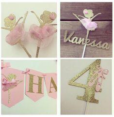 Glittered gold cupcake toppers, custom banner, centerpieces, custom ballerina cake topper