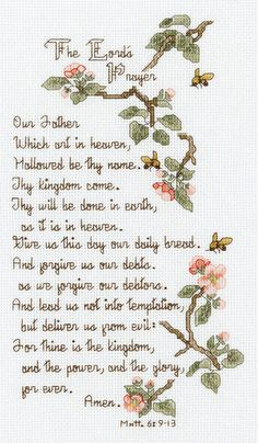 """Great for your home or as a gift, check out the Lord's Prayer cross stitch kit here: http://www.cutratecrafts.com/product.php/sku/050225 The+Lord's+Prayer+Counted+Cross+Stitch+Kit-5-1/2""""X10""""+14+Count"""