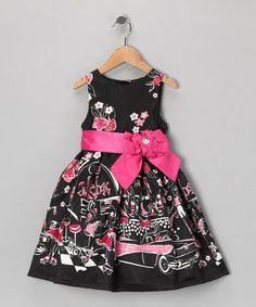 Take a look at this Black & Fuchsia Floral 'Jukebox' Dress - Infant, Toddler & Girls by Donita on today! Little Girl Outfits, Cute Outfits For Kids, Little Girl Fashion, Kids Fashion, Girls Black Dress, Girls Dresses, Beautiful Little Girls, My Baby Girl, Baby Dress