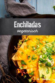 Vorhang auf für unsere vegetarischen Enchiladas: Natürlich mit viel Gemüse, überbackenem Käse und als Highlight selbstgemachter Koriander-Schmand! Great Recipes, Snack Recipes, Healthy Recipes, Delicious Recipes, Healthy Food, Nacho Taco, Vegan Dinners, Vegan Life, Allrecipes