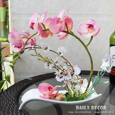 A set of hand felt artificial orchid flowers arrangements Phalaenopsis / Orchid suit ikebana Orchidea Die orchidee Floral