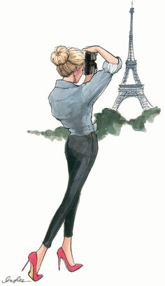 Travel Paris; street fashion style for women; fashion painting #travel #fashion #illustration