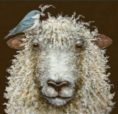 Sheep art Sheep Paintings, Paintings I Love, Animal Paintings, Illustrations, Illustration Art, Farm Animals, Cute Animals, Wooly Bully, Photo Animaliere
