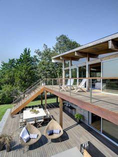 Two level decks as well as balcony Kit Homes, Covered Back Patio, Design Exterior, New York Homes, Waterfront Property, Wooden Decks, Home Upgrades, Cottage Design, Deck Design